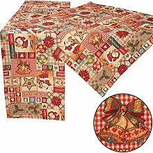 Quinnyshop Weihnachtsmotive Patchwork-Design in Gobelin Tischläufer 40 x 140 cm Polyester, Ro