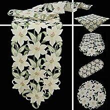 Quinnyshop Weiße Lilie Stickerei Tischdecke