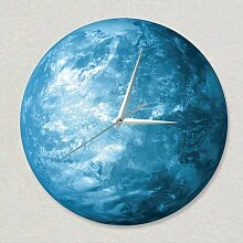 QUS (Stadt) DIY Rahmenlose Wanduhr Spiegel Nr. Dekoration Craft Home Office Decor Geschenk, Middle 30cm*30cm, earth