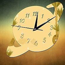 QUTICL Kreative Form 3D Spiegel Aufkleber DIY Wanduhr Home Decor Wall Clock 8-gold