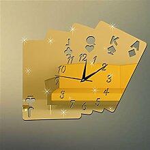 QUTICL Kreative Poker Mahjong Spiegelfläche Aufkleber DIY Wanduhr Home Decor Wall Clock D-gold