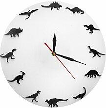 QUTICL Minimalistisches Design Uhr Dinosaurier Rassen moderne Wanduhr Kinderzimmer Kinderzimmer Wanduhr