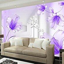 QVZXN Lila Blumen Weiß Korridor Fototapete