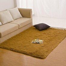 qwer 000 Yan Fu minimalistischen modernen Schlafzimmer Wohnzimmer Couchtisch Teppiche rechteckig Farbe Bett mit seidigen Sofas Teppich, 180*200cm, Khaki