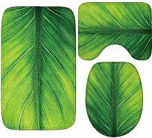 QWER 3 Sätze Badematten Grünes Blatt Muster