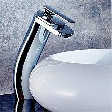 Qwer Alle Kupfer Waschbecken Waschtisch Armatur Wasserfall Einloch heißen und kalten Wasserhahn Sitzbank Waschbecken Waschbecken Wasserhahn