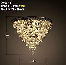 Qwer Amerikanische retro Garderobe Halle Lampen Schlafzimmer Schlafzimmer runden atmosphärischer gold Crystal ,X6007-6 Deckenleuchte