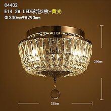 Qwer Amerikanische retro Garderobe Halle Lampen Schlafzimmer Schlafzimmer runden atmosphärischer gold Crystal ,C4402 Deckenleuchte