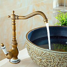 Qwer Antike alle Kupfer Sitzbank Becken Porzellan heiße und kalte Mixer Becken Becken können Sie drehen Faucetbathroom Wasserhahn