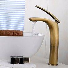 Qwer Antike Wasserhahn warmes und Cold-Copper Continental Retro Messing Tippen Sitzbank Becken Becken heiße und kalte Mixer Badezimmer Armatur Wasserhahn
