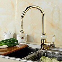 Qwer Antike zog Hahn Cu alle Gold Sitzbank Becken Becken Jade Dragon im Europäischen Stil Küchen Teleskop Mischpult Titan Hoch) Badezimmer Armatur Wasserhahn