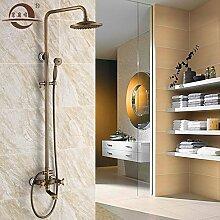 Qwer antiken Duschen Kit voll Kupfer Continental Retro Badezimmer Dusche mit heißem und kaltem Wasser Bronze Dusche als Packed