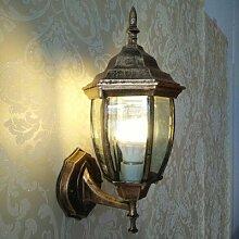 QWER Außen-Wandleuchten Continental Wandleuchten LED Leuchte Tür Wand Außenleuchte moderne Outdoor wasserdicht Innenhof Lampe, Bronze