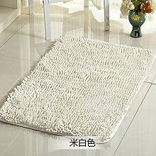 Qwer Chenille matten Fußmatte mit dem saugfüße Bad Rutschfeste Matte Schlafzimmer Bett Matratze, 50 * 60 cm (), heart-shaped Beige weiße Teppiche