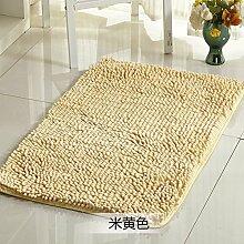 Qwer Chenille matten Fußmatte mit dem saugfüße Bad Rutschfeste Matte Schlafzimmer Bett Matratze, 140 * 200 cm, beige Teppiche