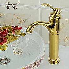 Qwer Continental Cu All American Antique Art Nouveau Wasserhahn Sitzbank Badewanne Gold-Colored heißen und kalten Becken, Niedrig)