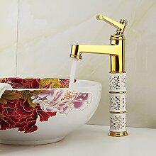 Qwer Continental Gold Armaturen Waschbecken Dragon Gold Doppel Loch Heiße und kalte Dusche Wasserhahn Sitzbank Waschtischmischer Kim