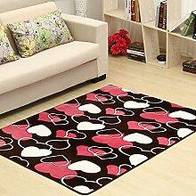 Qwer Coral Matten dicke Wohnzimmer Couchtisch matten Schlafzimmer Bett Grenze Folie Füße, 80*160, herzförmigen Teppiche