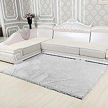 Qwer Das Wohnzimmer Teppich Schlafzimmer Bett mit minimalistischen modernen stilvolle Sofas, Kaffee pad, 140*200, Silbergrau Teppiche