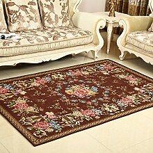 Qwer Der abwaschbare Wohnzimmer Couchtisch Teppiche Schlafzimmer Bett Teppiche Mediterrane amerikanischen Dorf, 140 x 200 cm, 004 eine braune Teppiche