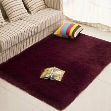 qwer Dicke rechteckige Bett Zimmer mit Teppichboden teppich teppiche Plüsch über dem Wohnzimmer, mit einfachen und modernen, 120*200cm, Wein ro