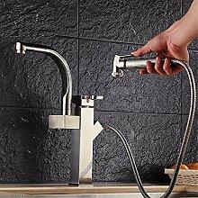 Qwer Die kupferne Becken Heiß und Kalt schlafen Küche Wasserhahn gebürstet Sitzbank Waschbecken Bad Armatur Wasserhahn ziehen