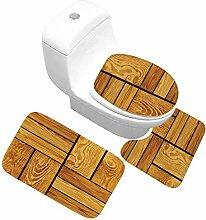 QWER Dreiteiliges Badezimmer Toilette Holz