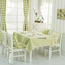 Qwer Einfaches und wunderschönes Dorf Apple Green Grid wasserdicht Esstisch Tischdecke Couchtisch tuch Partei Tischdecken kleiner runder Tisch Stoffe, Apple Green Tartan, 140 x 210 cm klein