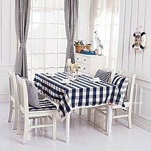 Qwer Einfaches und wunderschönes Dorf auf das tiefblaue Wasser des großen Esstisch Tischdecke Couchtisch tuch Partei Tischdecken kleiner runder Tisch Stoffe, dunkle Blau großen Fächern, 140 x 140 cm