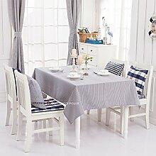 Qwer Einfaches und wunderschönes Dorf dunkel blauen Streifen wasserdicht Esstisch Tischdecke Couchtisch tuch Partei Tischdecken kleiner runder Tisch Stoffe, dunkle blaue Streifen, 140 x 140 cm