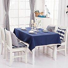 Qwer Einfaches und wunderschönes Dorf Dunkelblau Farbe wasserdichte Esstisch Tischdecke Couchtisch tuch Partei Tischdecken kleiner runder Tisch Stoffe, dunkle blaue Farbe, 140 x 160 cm