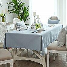 Qwer Einfaches und wunderschönes Dorf hellblau Farbe wasserdichte Esstisch Tischdecke Couchtisch tuch Partei Tischdecken kleiner runder Tisch Stoffe, helle blaue Farbe, 120 x 170 cm