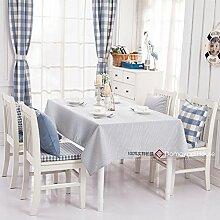 Qwer Einfaches und wunderschönes Dorf Hellblau streifen wasserdicht Esstisch Tischdecke Couchtisch tuch Partei Tischdecken kleiner runder Tisch Stoffen, hellen blauen Streifen, 120 x 160 cm