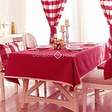 Qwer Einfaches und wunderschönes Dorf red Farbe wasserdichte Esstisch Tischdecke Couchtisch tuch Partei Tischdecken Stoffen, kleinen, runden Tisch in der roten Farbe, 140 x 160 cm