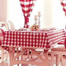 Qwer Einfaches und wunderschönes Dorf Red großer Draht wasserdicht Esstisch Tischdecke Couchtisch tuch Partei Tischdecken Stoffen, kleinen, runden Tisch in der Roten großen Fächern, 140 x 180 cm