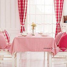 Qwer Einfaches und wunderschönes Dorf Red stripe wasserdicht Esstisch Tischdecke Couchtisch tuch Partei Tischdecken Stoffen, kleinen, runden Tisch in einem roten Streifen, 110 x 160 cm