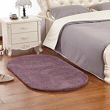 Qwer Flauschigen Teppich Schlafzimmer Drift Dichtung Zimmer Bett Teppiche lange dick, 1,2 m x 1,6 m, Transaktionen (Oval) Teppiche