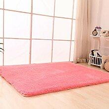 Qwer Fusselfreies Lamm Wolle Velvet Carpet Lounge Couchtisch Teppiche Schlafzimmer Bett Teppiche rosa ,1 x 1,6 m Teppiche