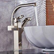 Qwer Gold alle Kupfer ziehen Waschtischmischer heiße und kalte Hubhöhe Sitzbank Waschbecken Waschbecken Wasserhahn Ziehen ausziehbaren Wasserhahn