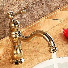 Qwer Goldene Wasserhähne antiken Wasserhahn Sitzbank Becken kontinentale Küche Wasserhahn Retro Wasserhahn warmes und Cold-Copper Bad Armatur