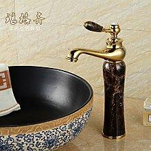 Qwer Hahn Waschbecken Armaturen Waschbecken Sitzbank, Marmor vergoldeten Waschbecken Armaturen Paket (Farbe) für Badezimmer