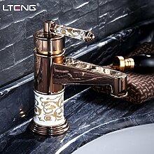 Qwer im Europäischen Stil Muster Rose Gold Sitzbank Basin-Wide Kupfer Heiße und kalte Dusche Wc Einloch Mixer