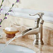 Qwer kontinentales warmes und Coldlbrushed Wasserhahn Einloch Badezimmer-Eitelkeit übersteigt die Kupfer kurze Brunnen Wasserfall Wasserhahn