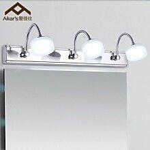 Qwer Led Licht Badezimmer vor dem Spiegel Wandspiegel leuchten moderne, minimalistische Edelstahl Bad WC Spiegel ,9W-Lampen