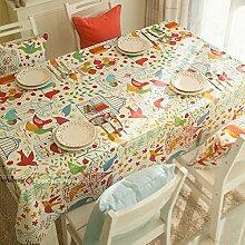 Qwer Minimalistische Amerikanische ländliche Idylle Blumen und Vögel wasserdicht Esstisch Tischdecke Couchtisch tuch Partei Tischdecken kleiner runder Tisch Stoffe, Vogel, 120 x 180 cm