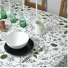 Qwer Minimalistische Amerikanische ländliche Idylle der wasserdichten Esstisch Tischdecke Couchtisch tuch Partei Tischdecken kleiner runder Tisch Stoffe, Vogel, 120 x 140 cm
