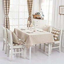 Qwer Minimalistische Amerikanische ländliche Milch Kaffee streifen wasserdicht Esstisch Tischdecke Couchtisch tuch Partei Tischdecken kleiner runder Tisch Stoffe, Milch, Kaffee, 120 x 170 cm Streifen