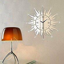 qwer Modische individuelle Wohnzimmer Schlafzimmer Wanduhren tv Hintergrund Dekorationen an der Wand Spiegel solar Z111, silber
