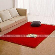 Qwer Rechteckige Wohnzimmer Couchtisch Teppiche m weißen flauschigen Teppichen, 50 * 120 CM, Schlafzimmer Bett rote Teppiche