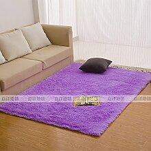 Qwer Rechteckige Wohnzimmer Couchtisch Teppiche m weißen flauschigen Teppichen, 80 * 200 CM, Schlafzimmer Bett Lila Teppiche